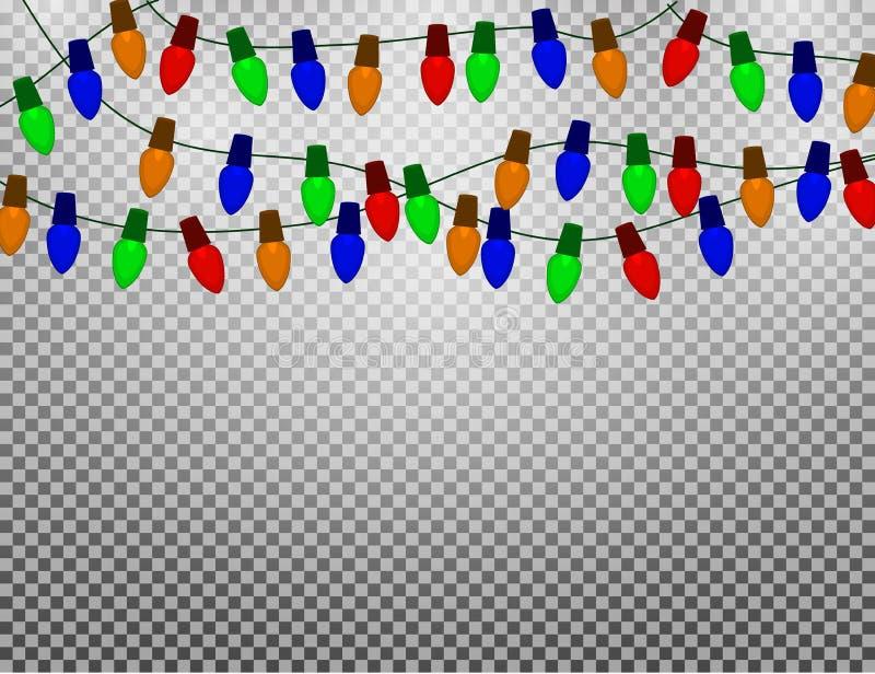 Ficelle des ampoules de Noël de couleur d'isolement sur le fond de transparans illustration libre de droits