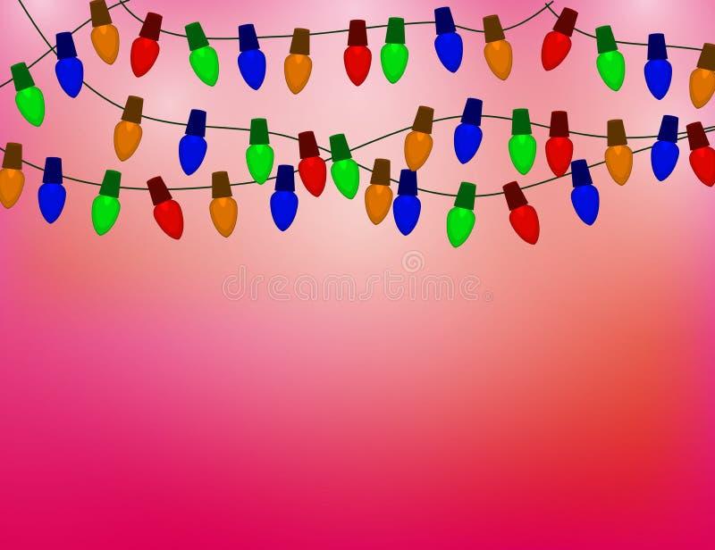 Ficelle des ampoules de Noël de couleur sur le fond rouge illustration stock