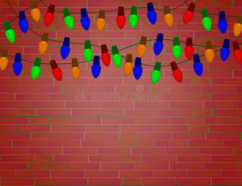 Ficelle des ampoules de Noël de couleur sur le mur de briques rouge illustration de vecteur