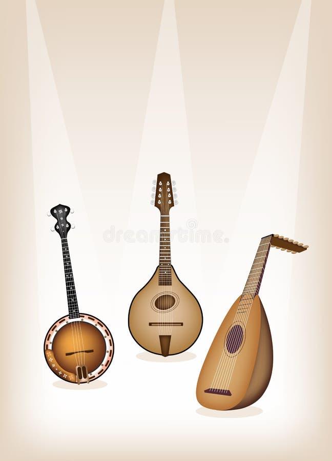 Ficelles antiques d'instrument de musique sur l'étape de Brown  illustration libre de droits
