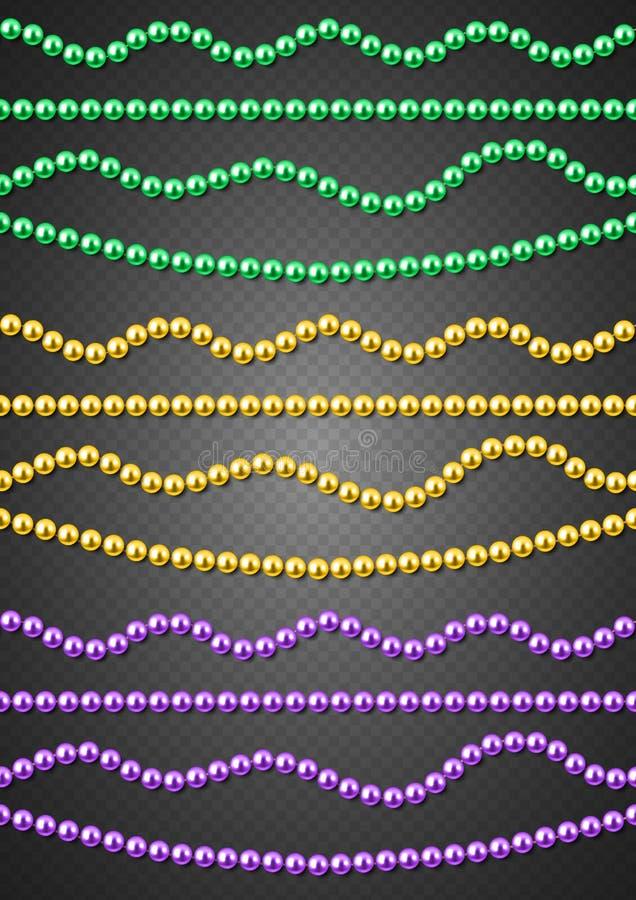 Ficelles décoratives de perles en couleurs de Mardi Gras, vert, or, pourpre, sans couture, illustration de vecteur illustration stock