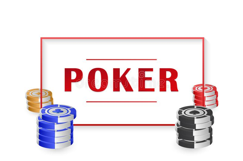 fichas de póker 3D aisladas en el fondo blanco, con el marco para el texto para el concepto del casino Vector EPS 10 stock de ilustración