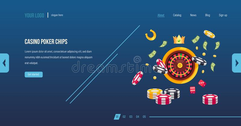 Fichas de póker del casino Juego del casino del póker, dado, ruleta, jugando stock de ilustración