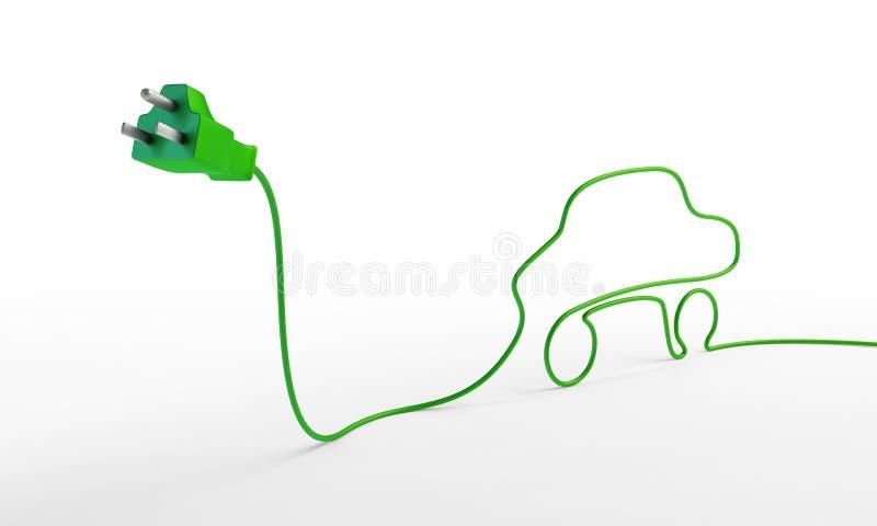 Fiche électrique avec un cordon véhicule-formé. illustration de vecteur