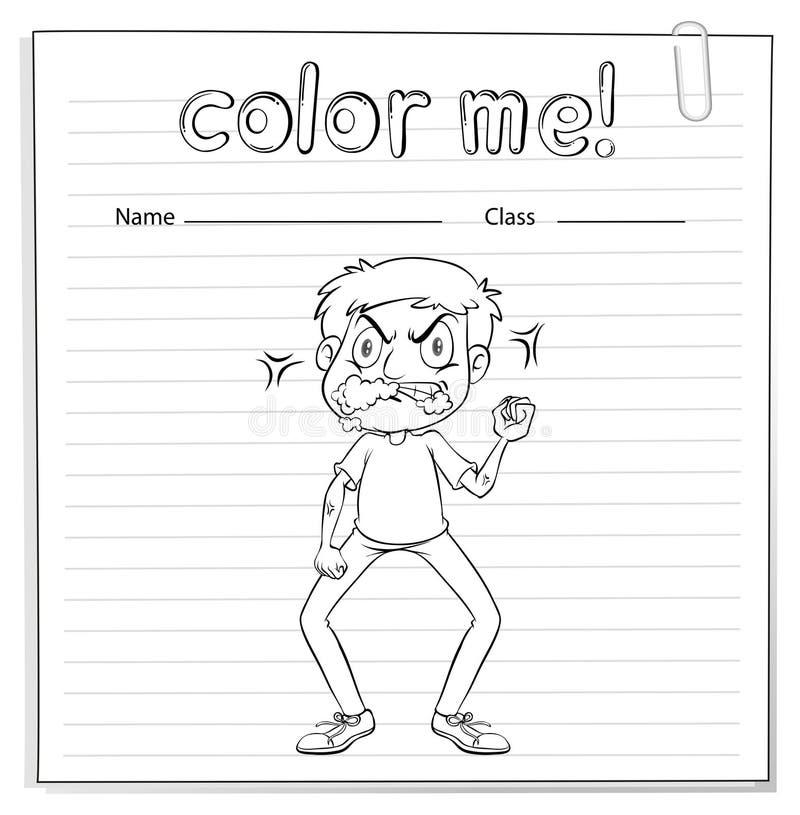Fiche de travail de coloration avec un homme illustration libre de droits