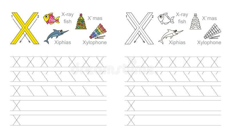 Fiche de travail de découverte pour la lettre X illustration stock