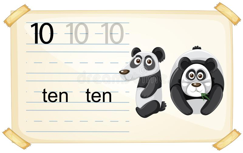 Fiche de travail de panda du numéro dix illustration libre de droits