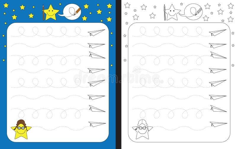 Download Fiche De Travail Préscolaire Illustration de Vecteur - Illustration du traçage, star: 76084771