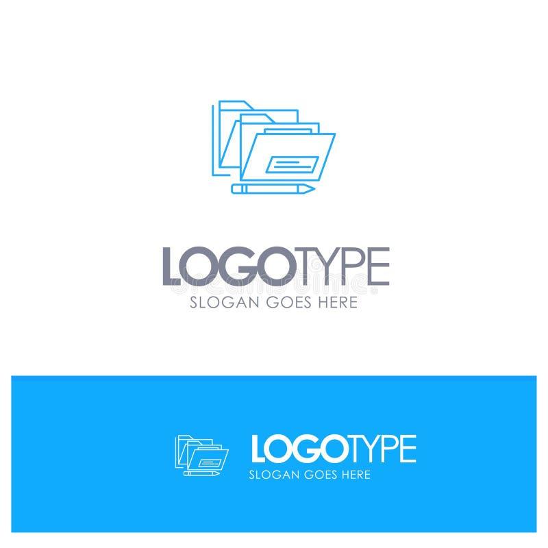 Fichero, carpeta, fecha, logotipo azul seguro del esquema con el lugar para el tagline libre illustration