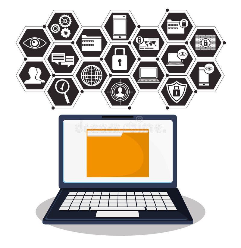 Fichero cibernético de la carpeta de los datos de la tecnología de seguridad libre illustration