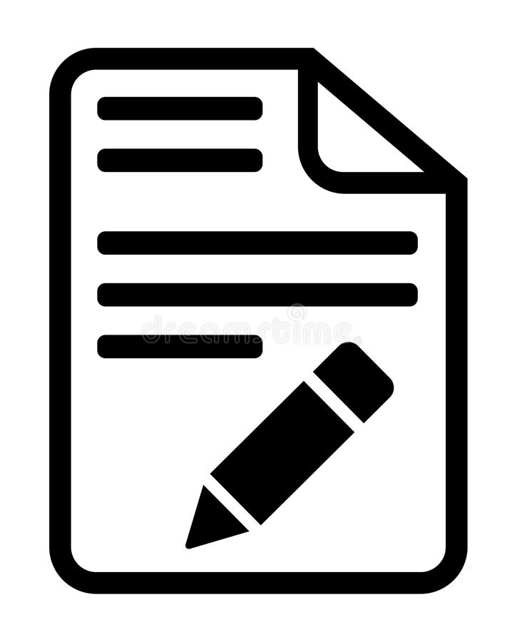 Fichero de documento e icono del lápiz stock de ilustración