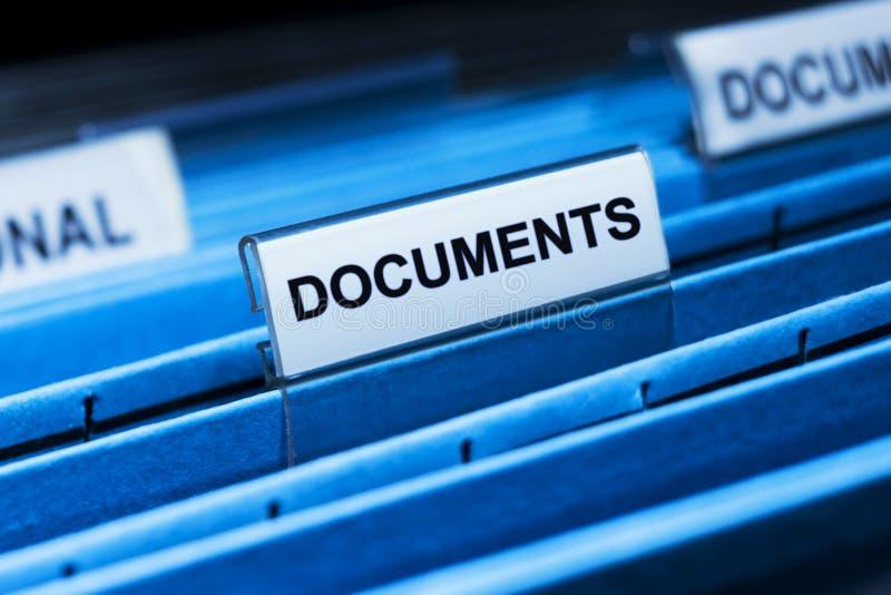 Fichero de documentos foto de archivo