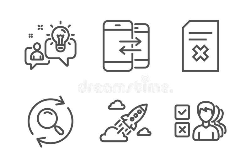 Fichero de la idea, de la cancelaci?n y sistema de los iconos de la b?squeda Comunicaci?n del tel?fono, cohete de lanzamiento y m stock de ilustración