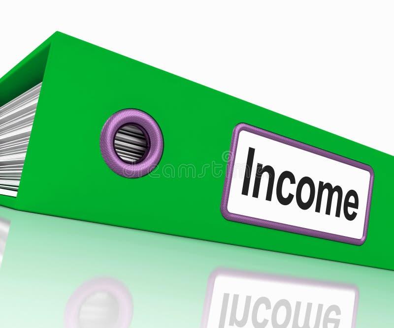 Fichero de la renta que muestra ganancias y documentos del rédito libre illustration
