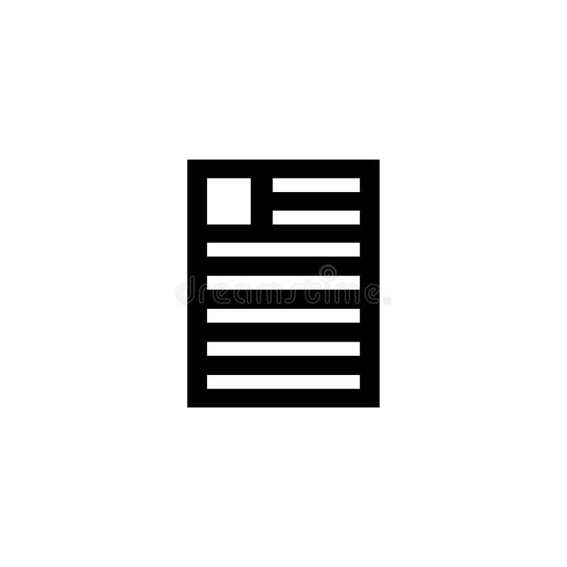 Fichero del curriculum vitae, icono plano del vector del documento personal ilustración del vector