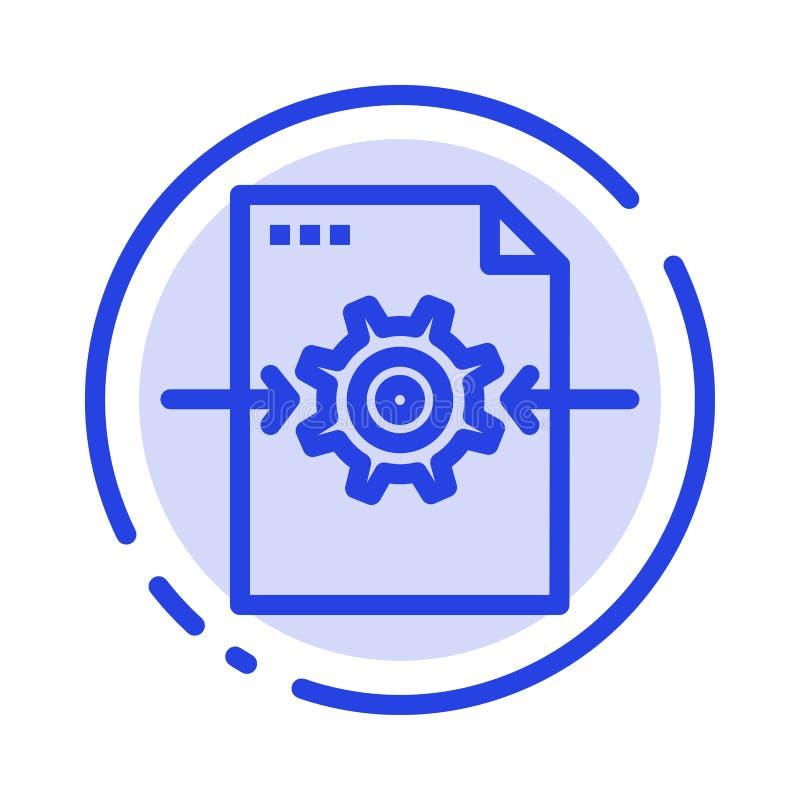 Fichero, engranaje, ajuste, línea de puntos azul línea icono de la flecha stock de ilustración