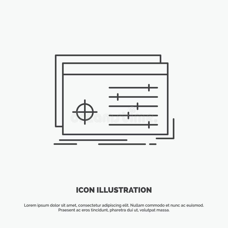 Fichero, objeto, procesando, ajustes, icono del software L?nea s?mbolo gris del vector para UI y UX, p?gina web o aplicaci?n m?vi stock de ilustración