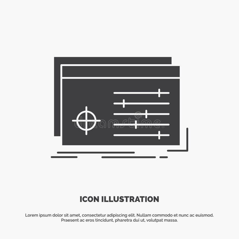 Fichero, objeto, procesando, ajustes, icono del software s?mbolo gris del vector del glyph para UI y UX, p?gina web o aplicaci?n  stock de ilustración
