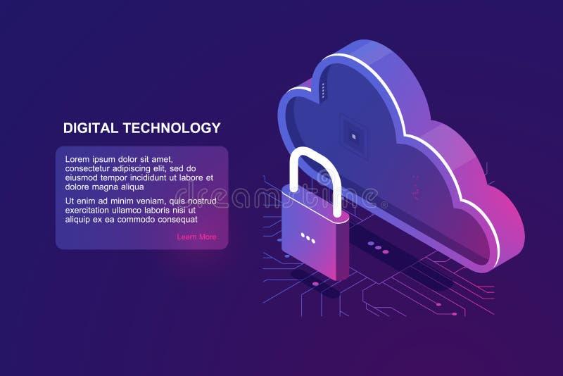 Fichero protegido en el almacenamiento remoto de la nube, icono isométrico de la nube, proveedor de Internet ahorrado, almacenami libre illustration