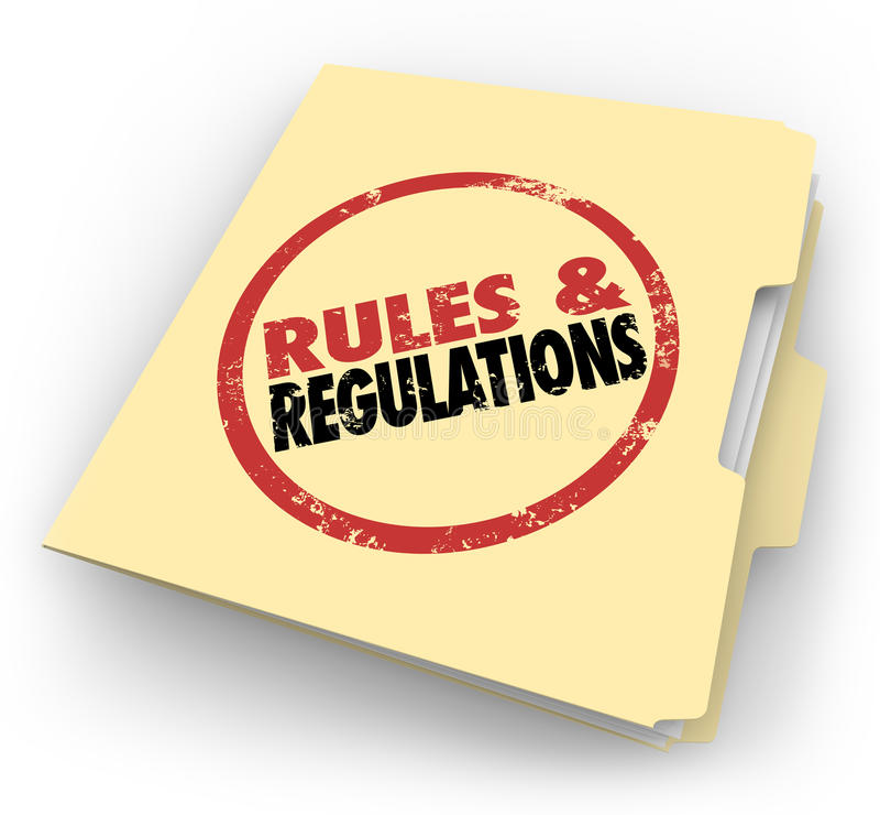 Ficheros de documentos sellados de la carpeta de Manila de las regulaciones de las reglas stock de ilustración