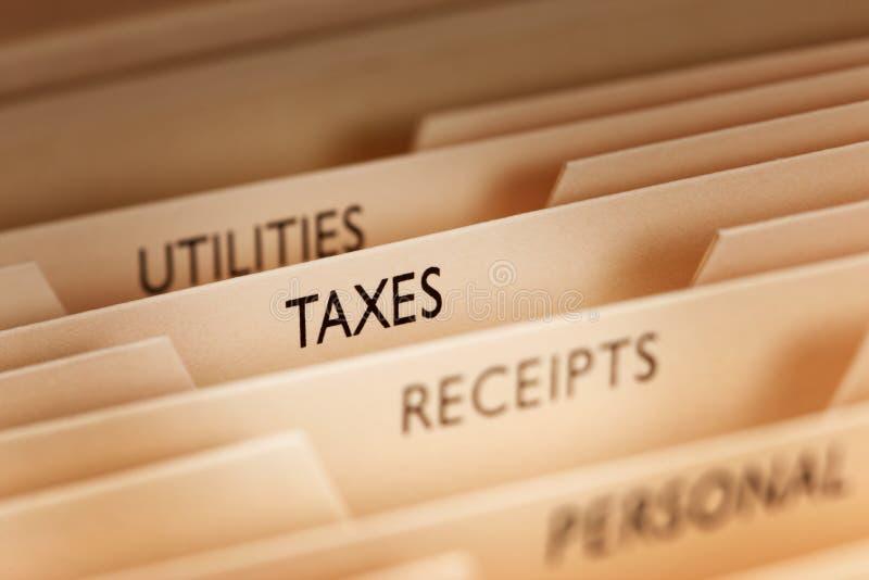 Ficheros de impuesto imágenes de archivo libres de regalías