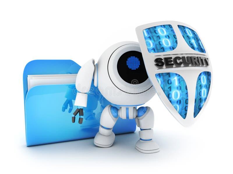 Ficheros y robot con el escudo ilustración del vector