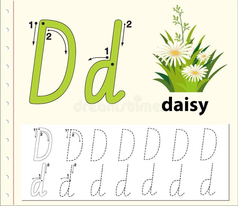 Fiches de travail de découverte d'alphabet de la lettre D illustration libre de droits