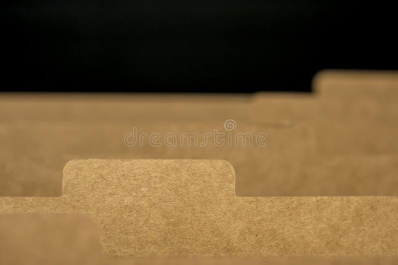 Fiches rayées dans le meuble d'archivage photos stock