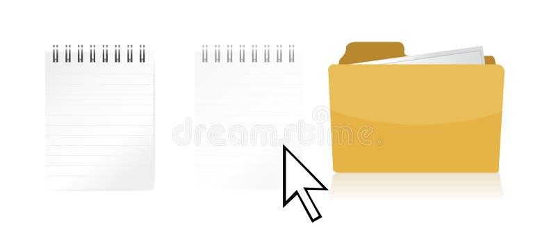 Fichier de frottement à l'intérieur d'un dépliant de document illustration de vecteur