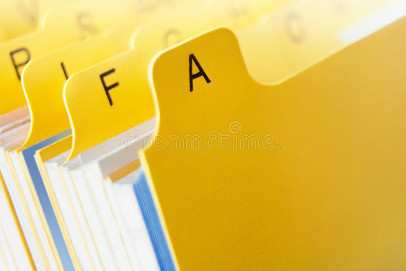 Fichier jaune photographie stock libre de droits