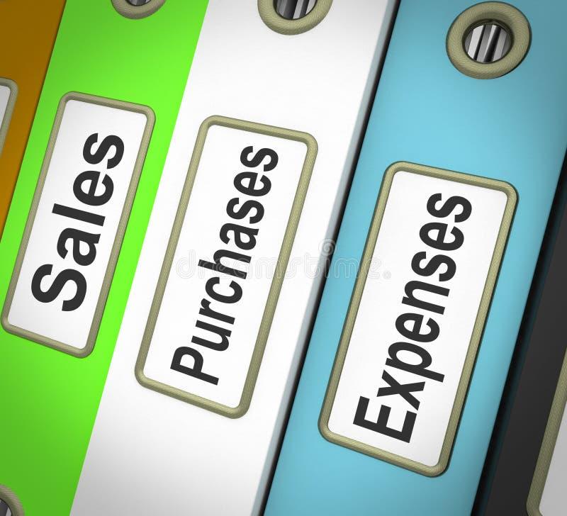 Fichiers de charges de ventes d'achats contenant des enregistrements illustration de vecteur