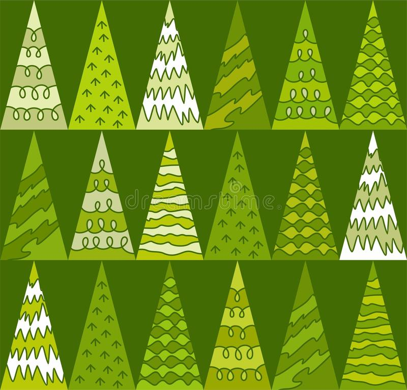 Fichte, Bäume, Grün, Weihnachten, Dreiecke, geometrischer, grüner Hintergrund, nahtlos stock abbildung