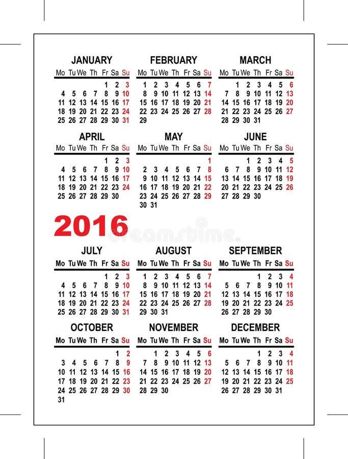 Fick- kalendermall 2016 royaltyfri illustrationer