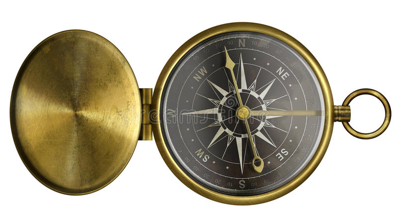 Fick- kompass för mässingsantikvitet med det isolerade lock- och svartfjäll stock illustrationer