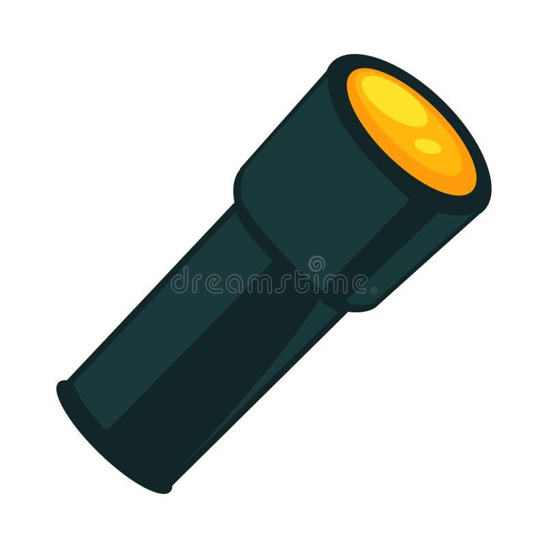 Ficklampa i mörk färg som isoleras på den vita vektoraffischen vektor illustrationer