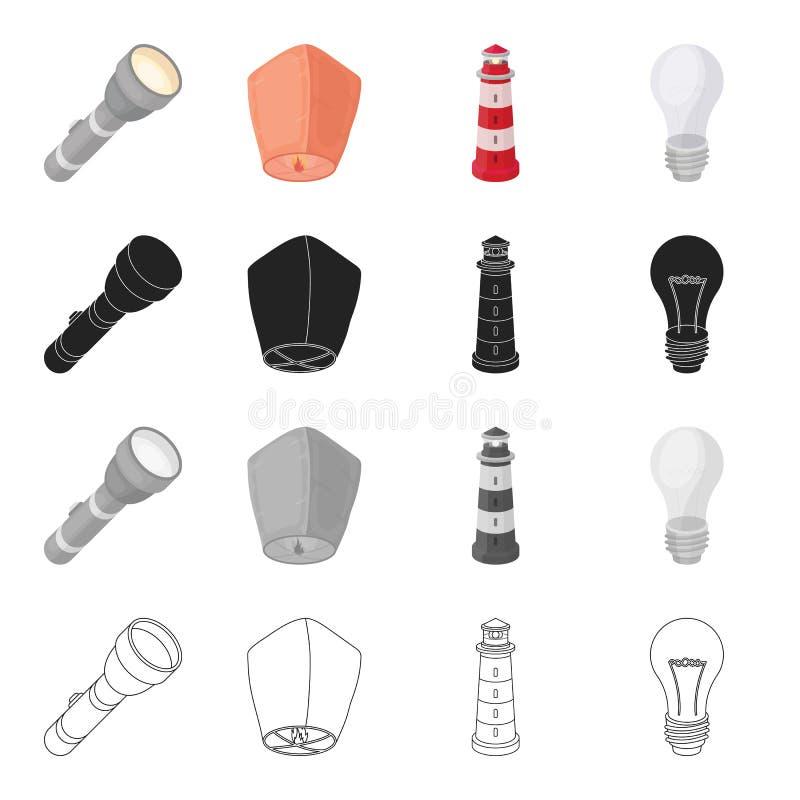 Ficklampa kinesisk lykta, ljus av en fyr, ljus kula För uppsättningsamling för ljus källa symboler i tecknad film svärtar royaltyfri illustrationer