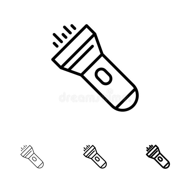 Ficklampa, ljus, fackla, prålig djärv och tunn svart linje symbolsuppsättning royaltyfri illustrationer