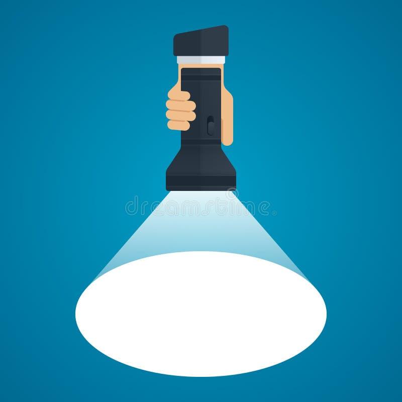 Ficklampa med den ljusa strålen i hand vektor illustrationer