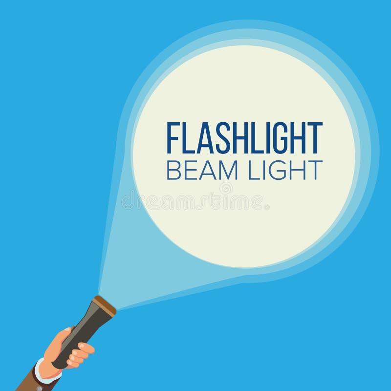 Ficklampa- och handvektor Affär rengöringsduksökandebegrepp Peka och vägledas Strålkastare- och strålljus plant vektor illustrationer