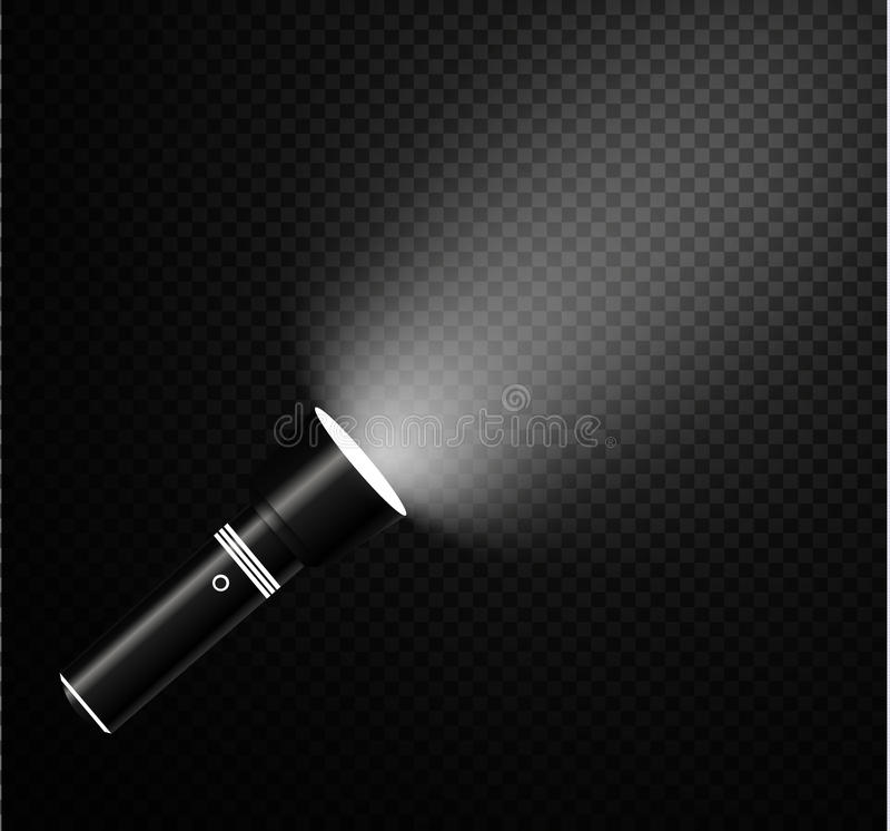 Ficklampa på genomskinlig bakgrund royaltyfri illustrationer