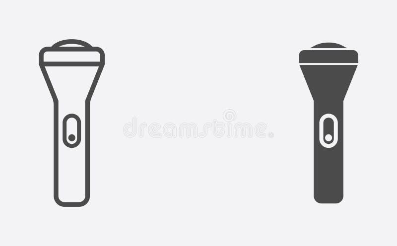 Ficklampan fyllde och symbolet för tecken för översiktsvektorsymbol stock illustrationer