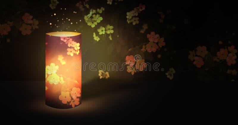 Ficklamparomantiker i den blommande trädgården för natt med magisk strålglans stock illustrationer
