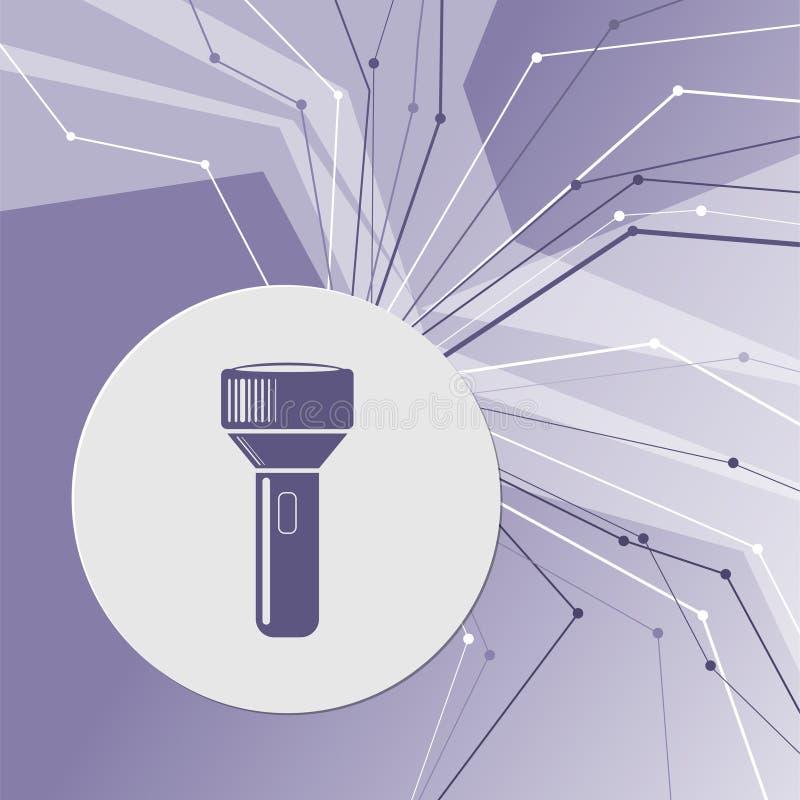 Ficklampasymbol på modern bakgrund för lilaabstrakt begrepp Linjerna sammanlagt riktningar Med rum för din advertizing stock illustrationer