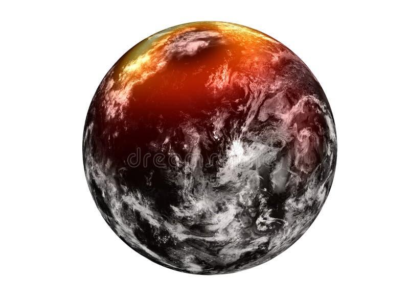 Fictie zwarte planeet met gele gloedhalo op het Noorden vector illustratie