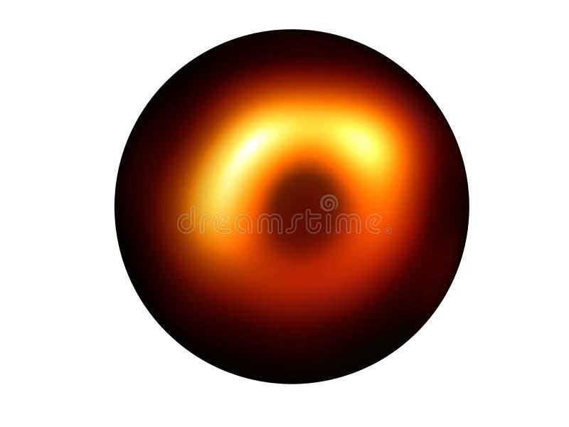 Fictie zwarte planeet met gele gloedhalo vector illustratie
