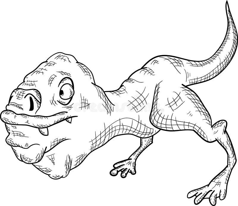 Fictief dierlijk monster op een witte achtergrond stock illustratie
