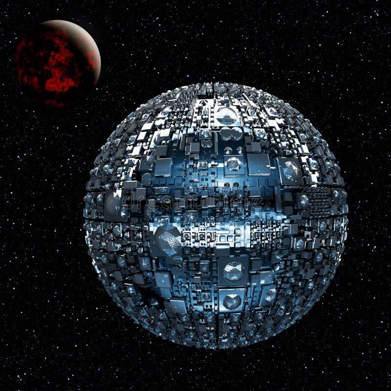 Fictief heelal met ruimteslagschip stock illustratie