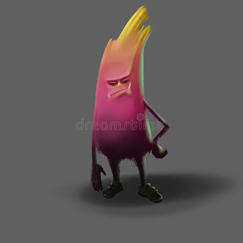 Fictief karakter, een monster geel-purple op een grijze achtergrond vector illustratie