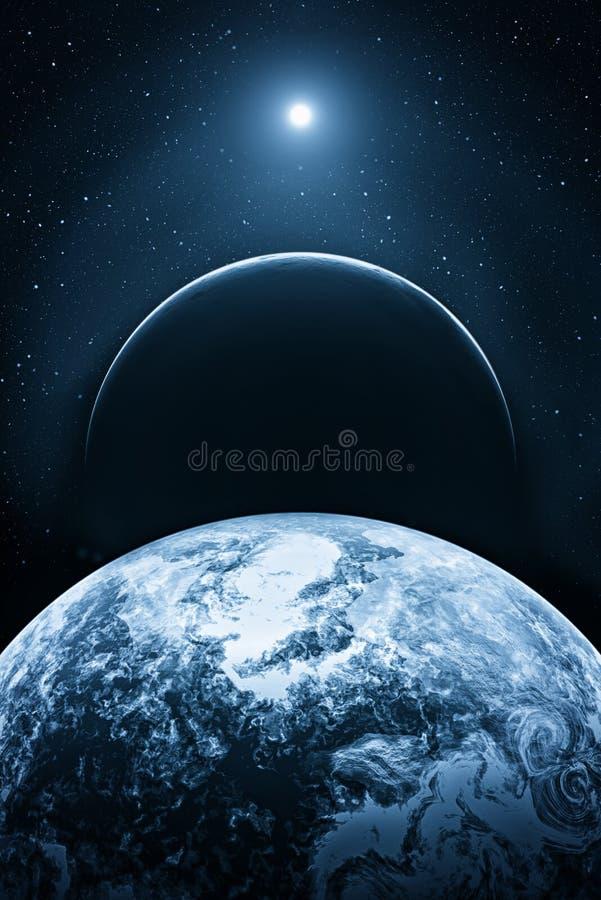 Fictieve ruimte met planeten royalty-vrije illustratie