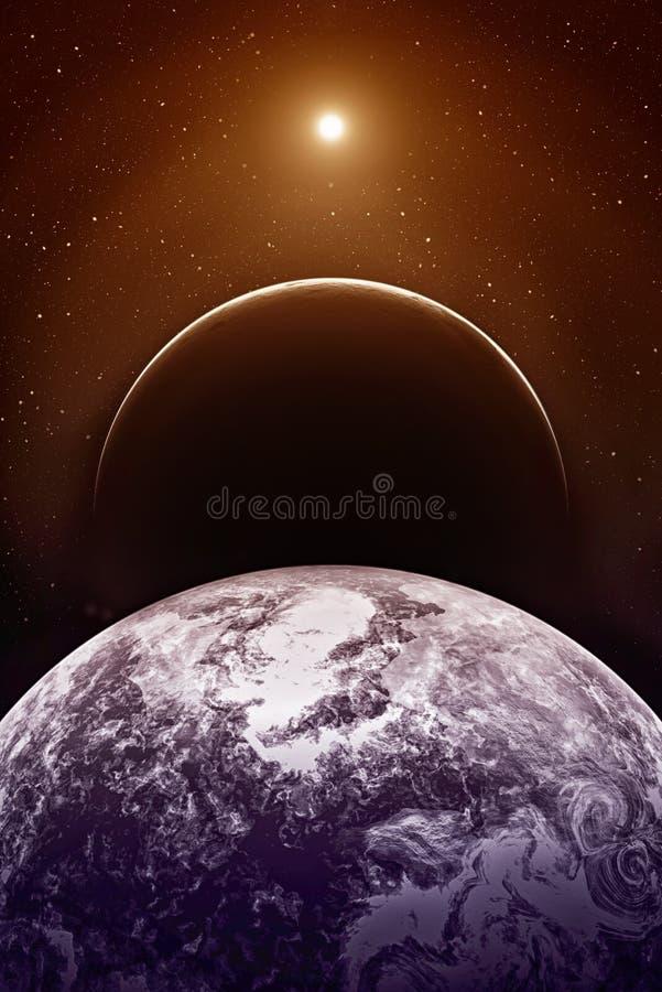 Fictieve ruimte met planeten stock illustratie